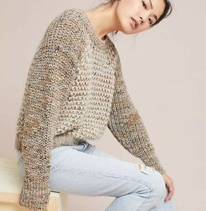 Anthro Moth Hillwalk Brown Chunky Knit Sweater